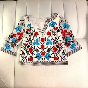 Alice and Olivia Silk Embroidered Top
